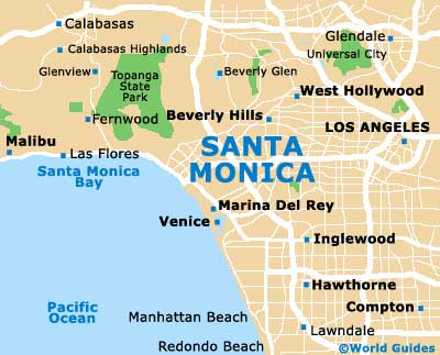 Santa Monica Maps and Orientation: Santa Monica, California ... on palm springs map, ventura ca on a map, beverly hills map, culver city map, bel air map, detroit map, castaic lake campground map, raymond chandler map, anaheim map, burbank map, long beach map, west hollywood map, torrance transit map, la county map, cuenca-ecuador google map, philadelphia map, redondo beach map, venice beach ca map, santiago de cali colombia map, los angeles map,