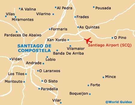 Map of Santiago de Compostela Lavacolla Airport SCQ Orientation