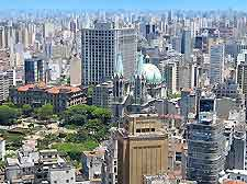 Aerial view of the Brazilian cityscape, showing historic cathedral