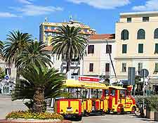 Picture of tourist train in Alghero, touring the town's main attractions