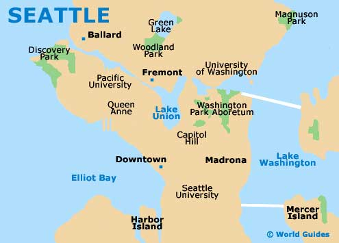 Seattle Maps And Orientation Seattle Washington Wa Usa - Puget-sound-on-us-map
