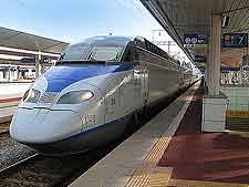 Photograph of modern high-speed Korean train