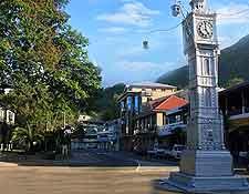 Photo of road next to Victoria's Lorloz Clock Tower, on Mahe island