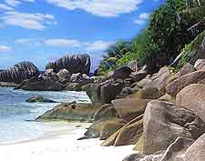 Photograph showing La Plage vue des Rochers, a beach on Mahe Island, Seychelles