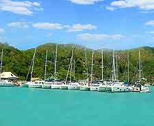 Image of yachts at marina, Praslin Island