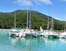Picture of yachts moored at Baie Sainte Anne, at the island of Praslin