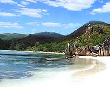 View of sandy beach on the tropical island of Praslin