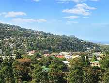 Aerial view of Victoria, on the Seychelles island of Mahe
