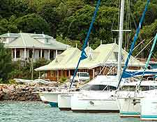 Yachts moored on the coastline of the Seychelles