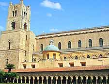 Photo showing the Monreale Cathedral, a historic landmark on the Piazza Vittorio Emanuele, Monreale, Sicily