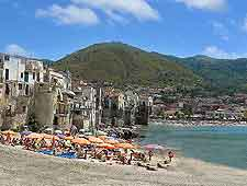 Picture of summer holiday makers on Cefalu Beach, Sicily