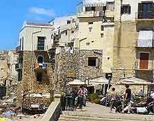 Image showing beachfront dining at Cefalu