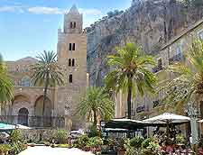 Further view of restaurants around Cefalu Cathedral