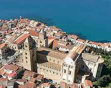 Aerial photo showing Cefalu's cathedral