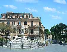 Photo showing central fountain in Palermo