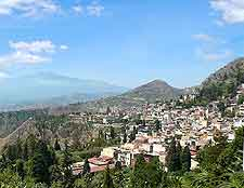 Photo of Taormina, with Mount Etna visible in the background