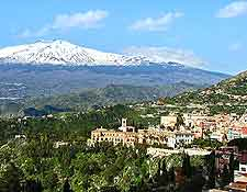 Image showing the Mount Etna volcano and the resort of Taormina