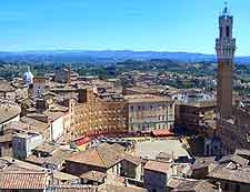 Picture of the city centre from high above Siena