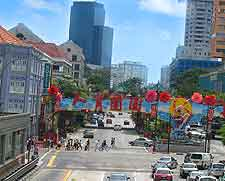 View of the Chinatown district in Singapore