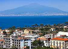 Sorrento coastal photo, showing Mount Vesuvius in the distance