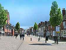 Different picture of the town centre shops