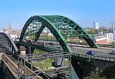 Photo of iron bridges spanning the River Wear