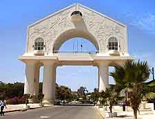 Photograph showing the famous Arch 22 in Banjul