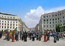 Photo of sculpture display on the Aristotelous Square