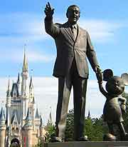Picture showing statue of Walt Disney and Mickey Mouse