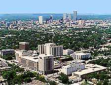 Aerial view over Tulsa