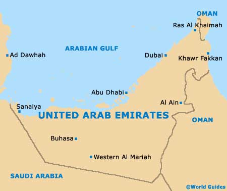 dubai map of world. United Arab Emirates UAE Map