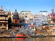Riverfront picture, showing the ghats on the Ganges