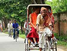 View of local cycle rickshaws