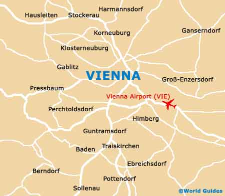 Map Of Vienna Airport VIE Orientation And Maps For VIE Vienna - Vienna austria on world map