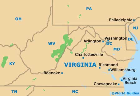 Virginia Map Geography Of Virginia Map Of Virginia Worldatlascom - Virginia in usa map