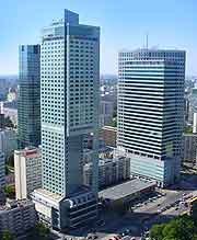 Warsaw cityscape view showing glass-clad office buildings