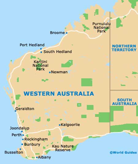 Western Australia State Tourism And Tourist Information - Map of western australia with towns