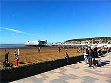 Photo of the beach, paved promenade and new pier at Weston Super Mare, near Bristol