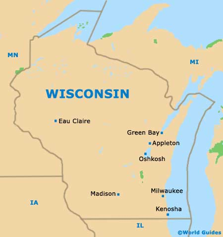 Wisconsin WI State Map