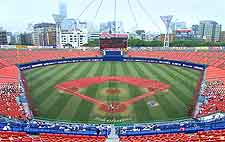 Aerial photo of baseball pitch at the stadium