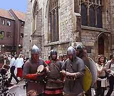 Picture of Vikings outside the Jorvik Centre in York
