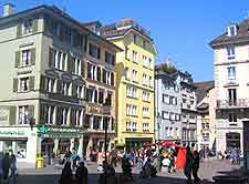 Central view of shops and cafes