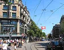 Picture of the city centre of Zurich showing tram lines
